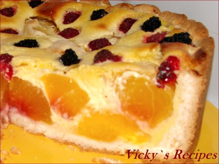 Tartă rapidă cu fructe (piersici)