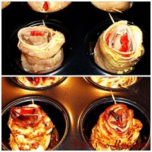 Trandafiri aperitiv din piept de pui cu ficatei si bacon 4