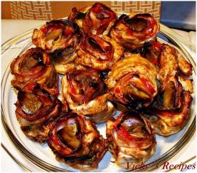 Trandafiri aperitiv din piept de pui cu ficatei si bacon 24