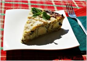 Tarta cu branza, ceapa verde si oua