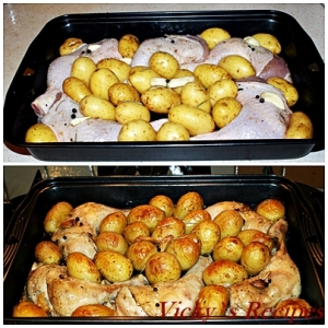 Cartofi noi cu rozmarin si pulpe de pui