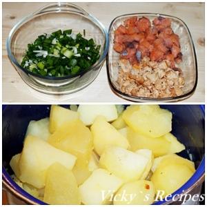 Placinta cu somon si cartofi
