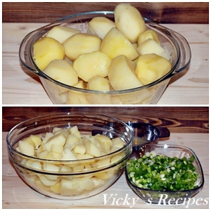 Salata de cartofi cu ceapa verde si iaurt