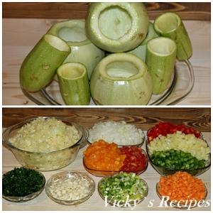 Dovlecei umpluti cu legume si orez cu sos de fasole verde