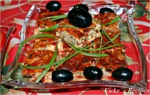 Budincă aperitiv cu șuncă și ardei
