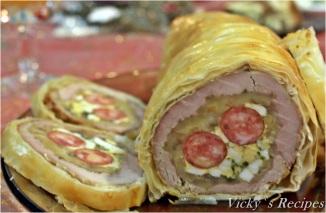 Ruladă din mușchi de porc în foietaj