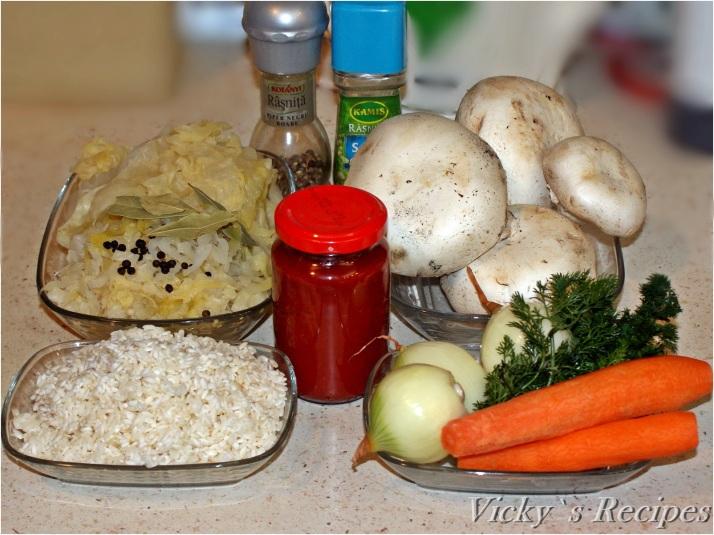 Sarmale de post cu ciuperci și orez