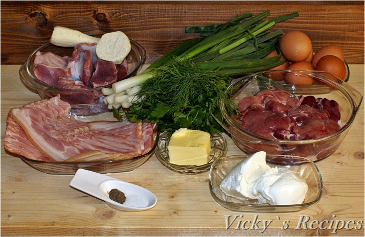 Drob din ficăței și pipote de pasăre, învelit în bacon