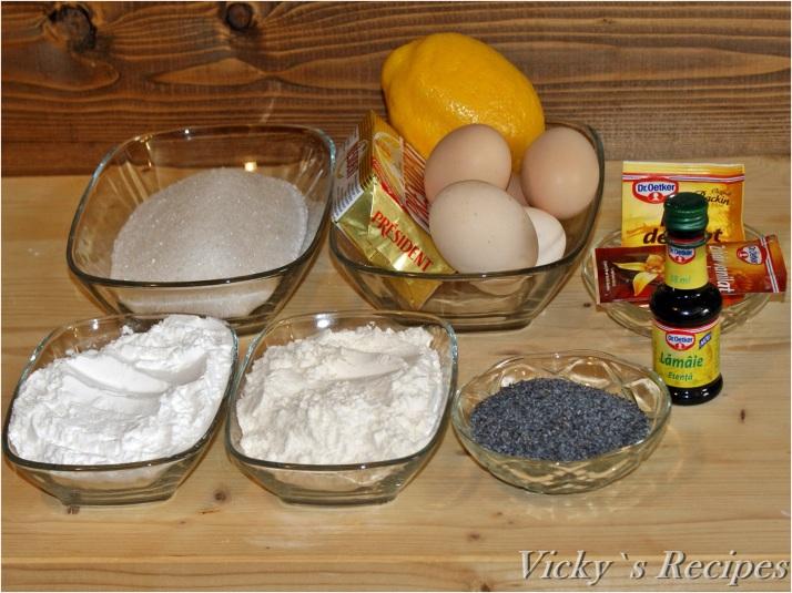 Prăjitură cu mac, lămâie, cremă mascarpone și căpșuni
