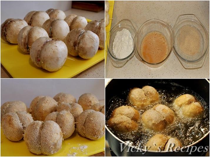 Ciuperci pane umplute cu crema de branza3