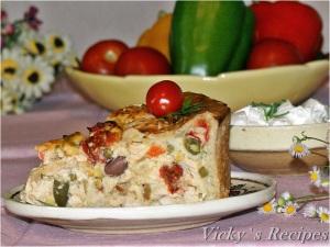 Plăcintă cu carne de pui și legume