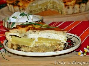 Placinta olteneasca cu praz, cartofi si branza