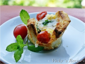 Coșulețe din pâine cu ouă de prepeliță