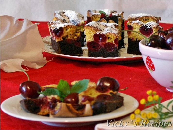 Prăjitură bicoloră cu vișine