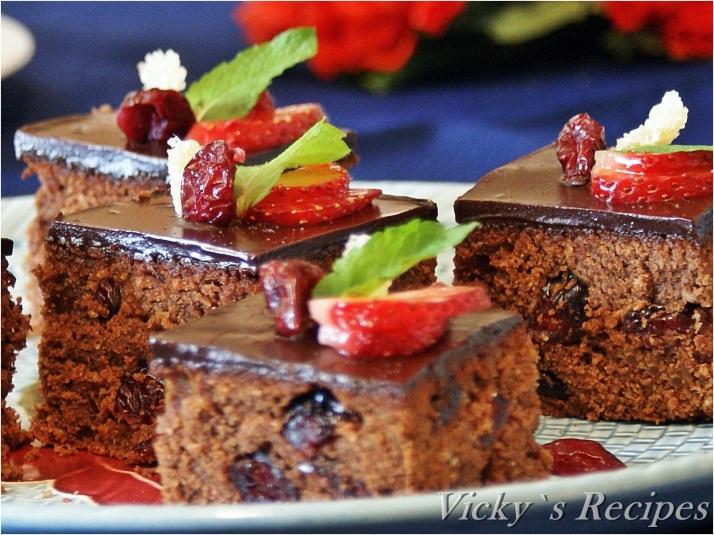 Prăjitură cu ciocolată, merișoare și ghimbir