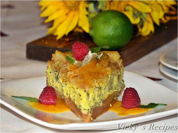Cheesecake cu mac și confit de lămâie