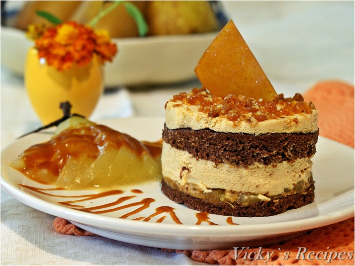 Prăjitură cu mousse de caramel și pere caramelizate