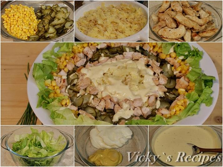 Salata cu paste, piept de pui si porumb4