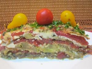 2-Sidy-Salata calda de dovlecei, rosii si branza