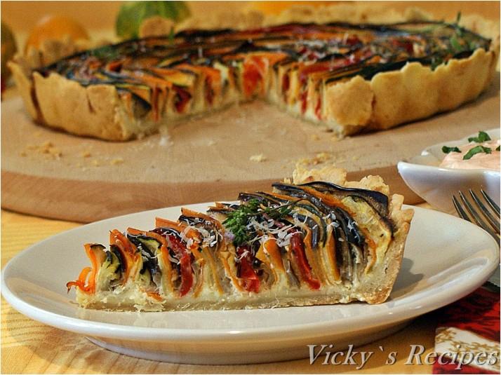 Tartă spiralată cu legume și mozzarella