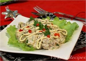 Salată de limbă cu ciuperci și maioneză