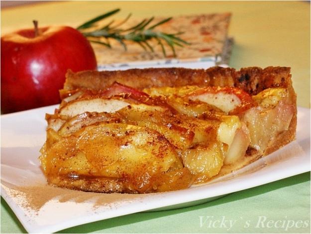 Tartă de post cu mere şi aluat caramel