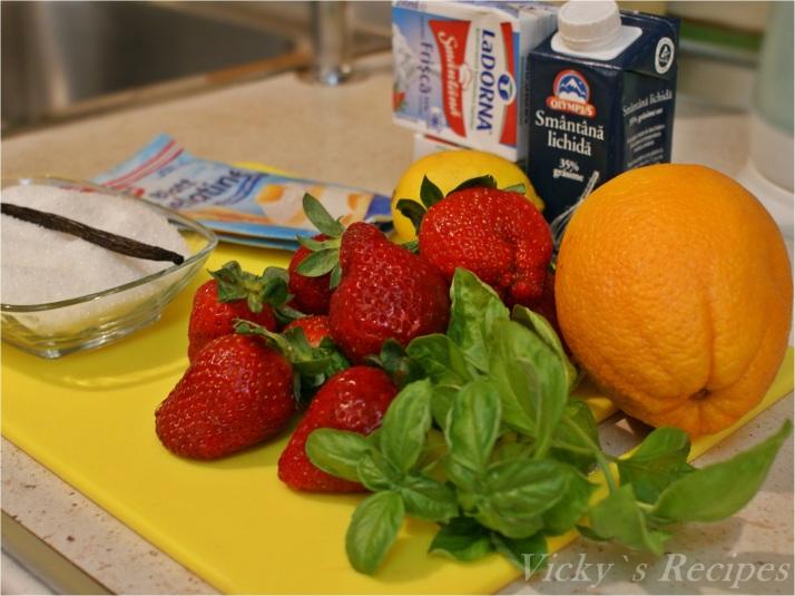 Panna Cotta de căpșuni cu citrice și busuioc