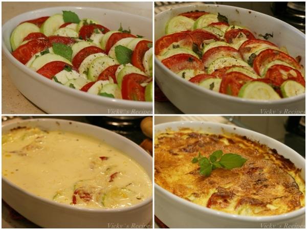 Budinca de dovlecei cu rosii si mozzarella3