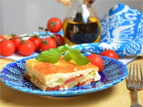 Budinca de dovlecei cu rosii si mozzarella7