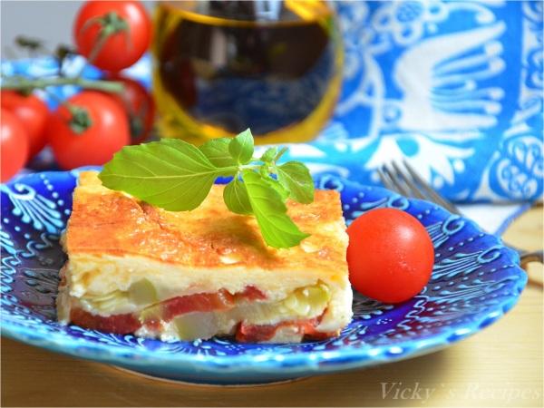 Budinca de dovlecei cu rosii si mozzarella8