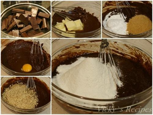 Prajitura cu ciocolata, nuci si cirese2