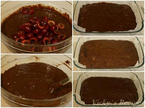 Prajitura cu ciocolata, nuci si cirese3
